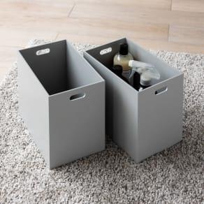 木製収納&メイクボックス 大ボックス 同色2個組 写真