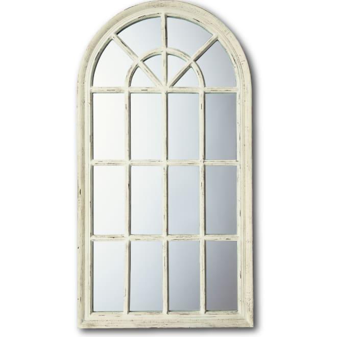 ウィンドウスタイルミラー ホワイト 窓のようなデザインで空間に広がりを与えてくれるデコレーションミラー。