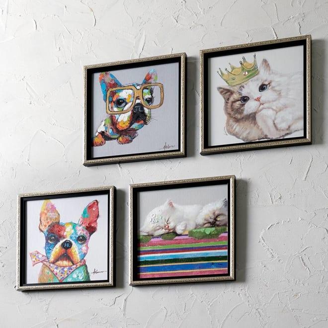 キャット&ドッグ ペインティングフレーム 左上から時計回りに、(エ)ビッググラシーズ、(ア)キングキャット、(イ)キャッツスリーピング、(ウ)バンダナブル 動物たちの愛らしい表情を一点ずつ丁寧に手描きしたオイルペイントシリーズ。油絵の豊かな色調が、お部屋を明るく彩ります。