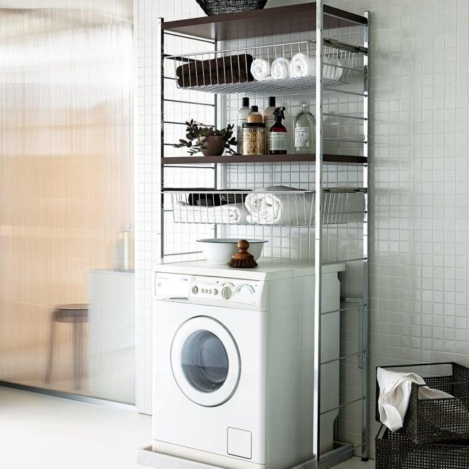 モダンランドリーラック 棚2段スライド引き出し2杯 ダークブラウン 落ち着いたモダンな空間を演出するデザイン。洗面所を上質な空間に変えてくれます。