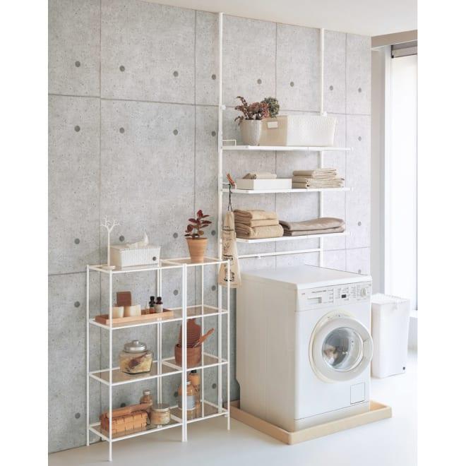 Ventol(ヴェントル) ランドリーラック 棚3段 ホワイト 清潔感のある洗面所にぴったりのカラーです。 ※お届けは写真右のランドリーラック棚3段のみになります。