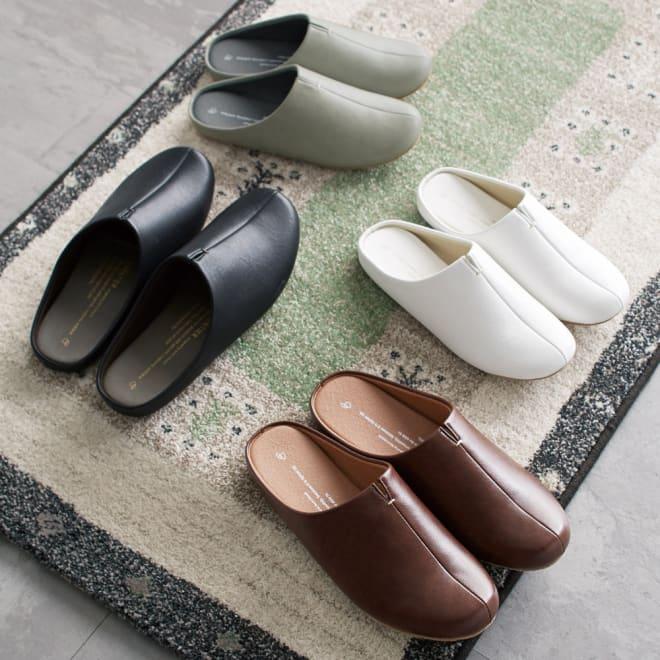 room's/ルームズ スリッパ 色・サイズが選べる2足組 上から時計回りにグレー(Mサイズ)、ホワイト(Mサイズ)、ダークブラウン(Lサイズ)、ブラック(Lサイズ)