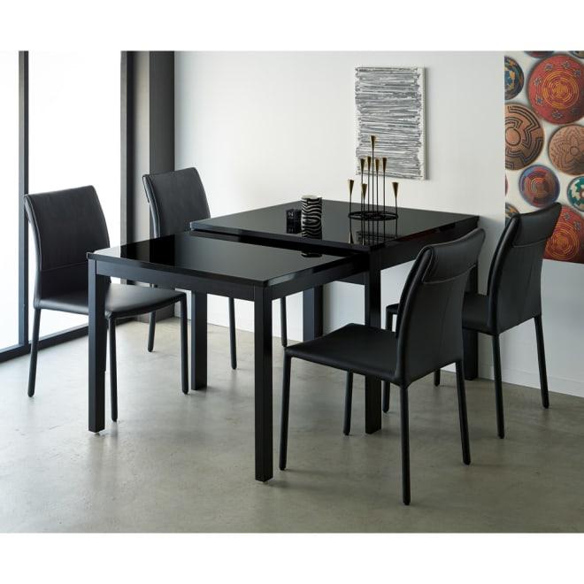 Boom ブーム 日本製UV塗装スライディングテーブル 正方形ダイニングテーブル コーディネート例 (イ)ブラック 伸長時