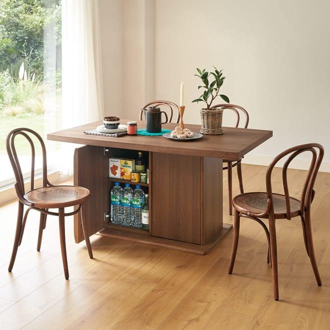 Portale/ポルターレ 収納庫付きテーブル 幅170cm コーディネート例 (ア)ダークブラウン