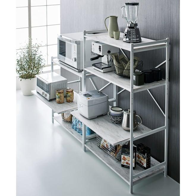 Milia/ミリア 大理石調 キッチンラック ミドル 幅83.5cm 大理石調の棚板が高級感のあるキッチンラック。