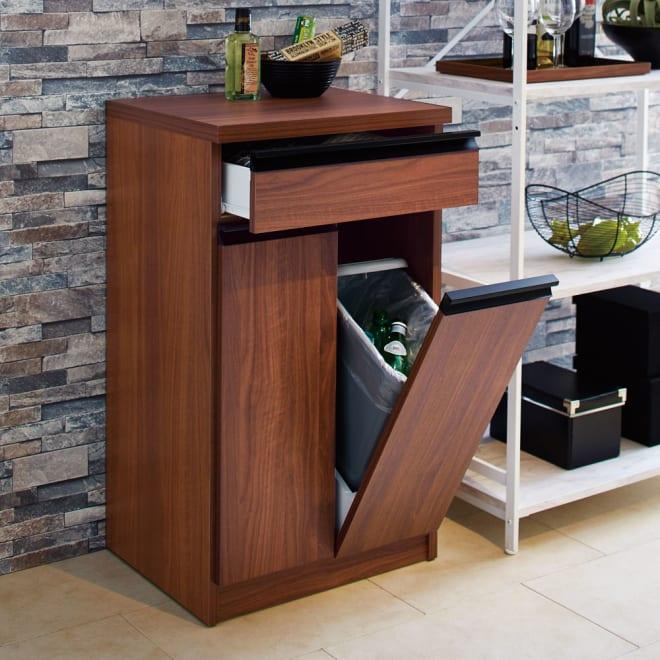 Gamlin/ガムリン 家具調ダストボックス 2分別 ごみ箱に見えないデザインでキッチンダイニング・リビングのインテリアになじみます