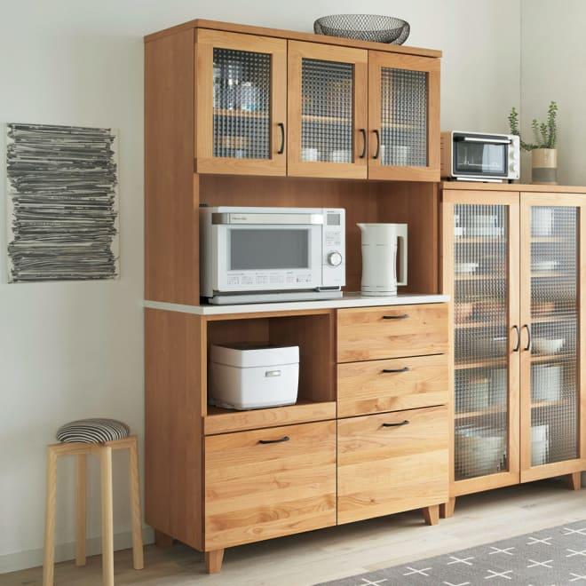 Pippi/ピッピ アルダー材コンパクトキッチン キッチンボード 幅100.5cm 北欧風のキッチンコーディネートにおすすめ