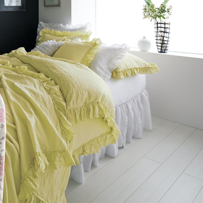 FrenchLinen/フレンチリネン フリルカバーリング ベッドスカート フリーサイズ コーディネート例 (ア)ホワイト ベッドスカート