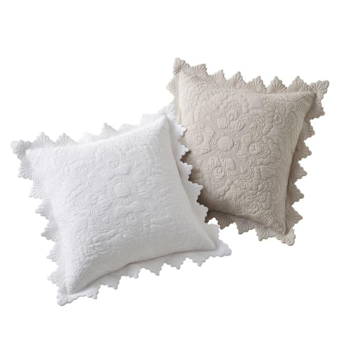Rimmaリンマ 綿キルトカバー クッションカバー(同色2枚組) 左からホワイト、ベージュ