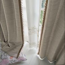 ビーズ付き遮光カーテン 2枚組 幅100×丈105cm