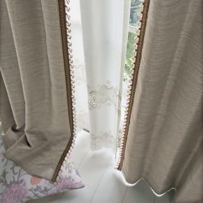 ビーズ付き遮光カーテン 2枚組 幅100×丈200cm 写真