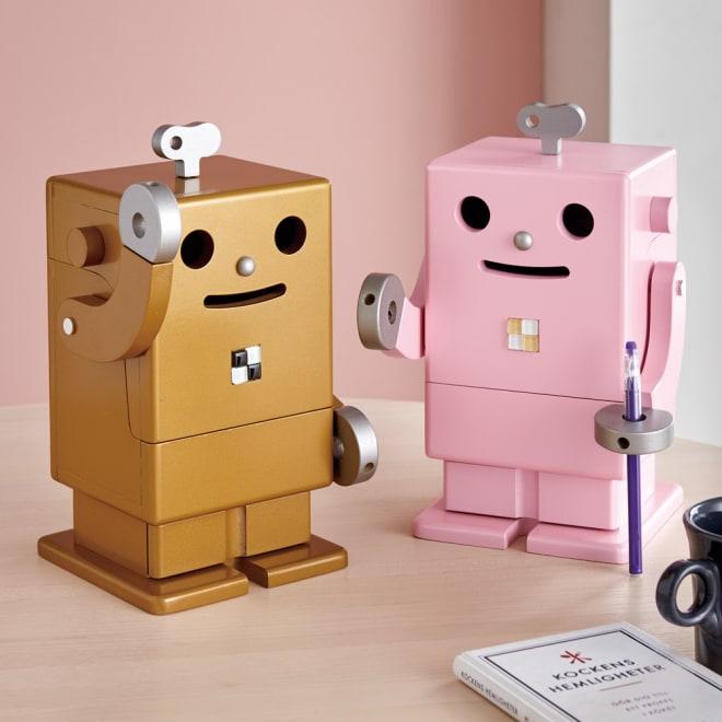 Robit&Pico/ロビット&ピコ 限定カラーのピコ卓上収納ロボ 左から(イ)ゴールド、(ア)ピンク ピコ卓上収納ロボは卓上タイプ。文具を入れれば勉強も楽しくなる!