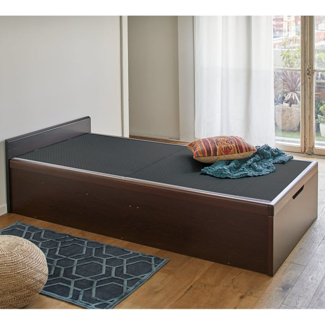 「美草」畳ガス圧収納ベッド ヘッドレスタイプ シングル 省スペースなヘッドレスタイプ