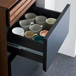 AlusStyle/アルススタイル 隙間収納 ハイタイプ(高さ164.5cm)幅45cm 中引き出しはよく使うカップや小鉢などをすっきりと収納。