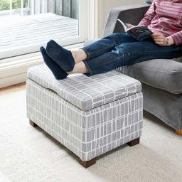 フィンレイソン玄関収納ベンチ 幅90cm (ア)グレー コンパクトな幅60cmタイプは、単品のベンチとしてはもちろん手持ちのソファと組み合わせてオットマンとしても。
