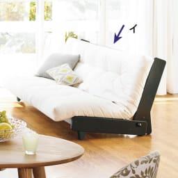 ヨーロッパ製ソファベッド Karup カーラップ ダークブラウン ソファ時 ※脚部が以前の使用の画像です。正しいキャスター付きの仕様は(ブラウン色)の画像をご確認ください。