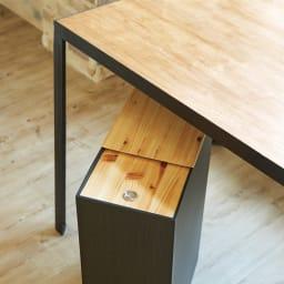 橋本達之助工芸/紀州檜天然木リビングダストボックス容量45L(2分別対応可能) テーブル下にも収納できるほどよい高さ。