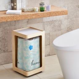 Oluo/オルオ トイレットペーパーワゴン シナ (ア)ホワイト すっきりと収納しトイレの空間を清潔な印象に。