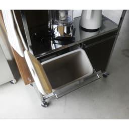 ステンレス天板ダストボックス付きキッチン作業台 木調扉 2分別