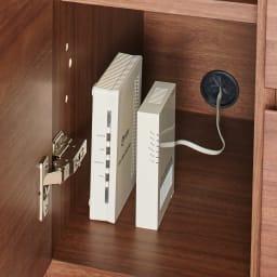 Sabio/サビオ リビング家電収納 サイドボード 幅89.5cm 扉内部は配線穴付きでモデム類の収納に便利。