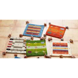 Gabbeh/ギャベ インド製 ウールマット 左上から時計回りにブルー額縁、オレンジグラデ、アイボリー額縁、グリーングラデ、グレーミックス