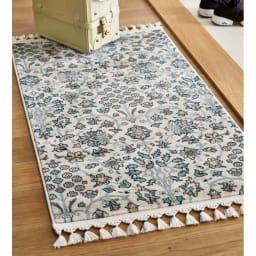 トルコ製ウィルトン織 マット〈アクアホーム〉 (イ)ベージュ系 ※写真は約70×120cmタイプです。