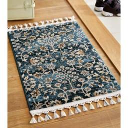 トルコ製ウィルトン織 マット〈アクアホーム〉 (ア)ブルー系