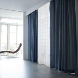 ドレープが美しいツイード調 100サイズカーテン 幅130cm(2枚組) ブルー ※お届けはカーテンです。