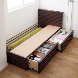 ウォルナット格子調ベッド フレームのみ ショート丈 長さ194cm 床下の引き出しは左右どちらにも取り付けられます。引き出しの反対側スペースは、カーペットなど長物や季節家電の収納に。