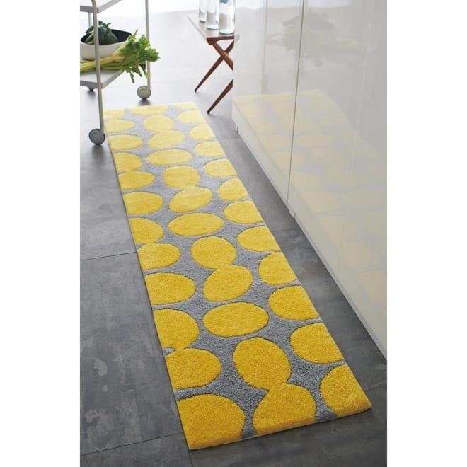 Finlayson/フィンレイソン ポップ フック織 玄関・キッチンマット (イ)イエロー ※写真は約50×200cmタイプです。