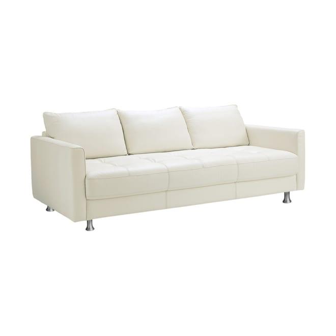 総革張り・レザーソファシリーズ トリプルソファ・幅197cm[LX コレクション](3人掛け) オフホワイト ロータイプにデザインされたソファはお部屋に置いた時にシャープに見え、お部屋が引き締まります。