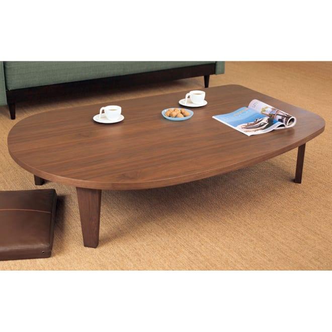 折れ脚コミュニケーションローテーブル 幅120cm 木目を生かした、和室でも洋室でも使えるナチュラルデザインです。