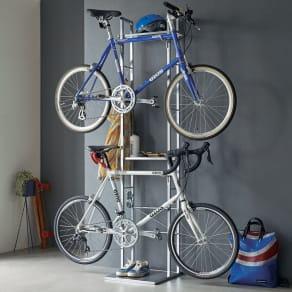 フック可動式サイクルスタンド アクリル棚付き 2台用 写真