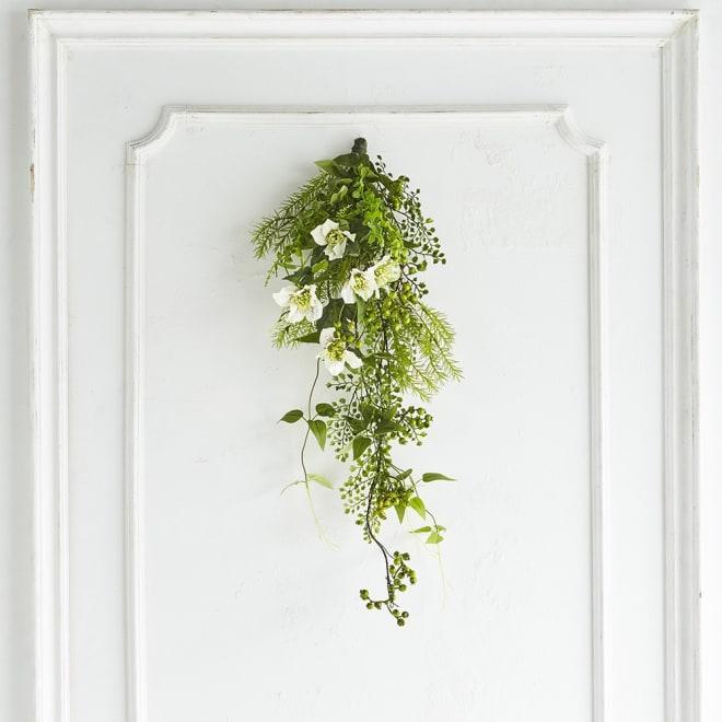 アレンジメントスワッグ クリスマスローズ まるで本物の植物のような美しさを、一年中楽しめます。