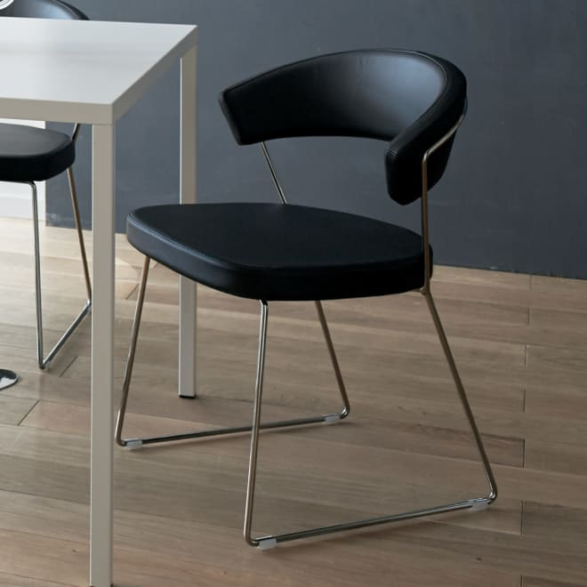 NewYork ニューヨーク 革張りダイニングチェア 2脚組[Connubia by Calligaris カリガリス]