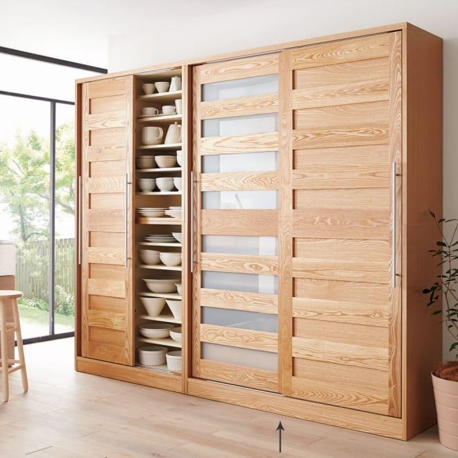 NexII ネックス2 天然木キッチン収納 キャビネット 幅140cm ナチュラル 美しい木目が大人の上質なインテリアを演出。冷たく暗くなりがちなキッチンを心地よい柔らかい空間に変えてくれるキッチン収納です。