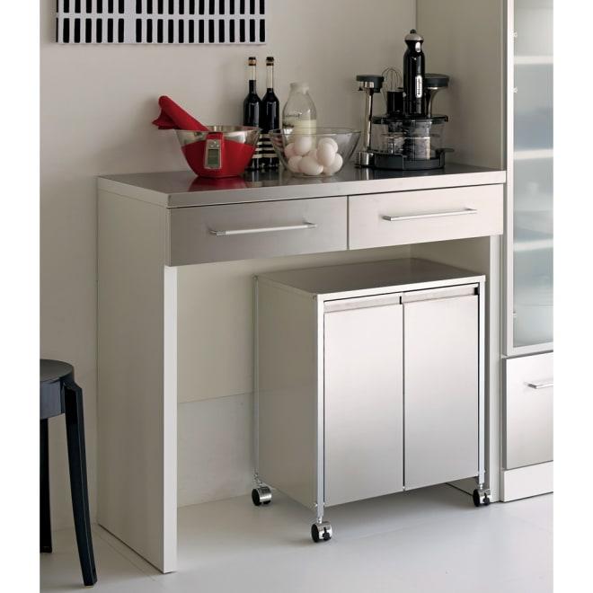 SmartII スマート2 ステンレスシリーズ 間仕切りオープンキッチンカウンター 幅90.5cm高さ85cm ホワイト系 お届け商品はこちらのステンレス天板オープンキッチンカウンター 幅90cmです。