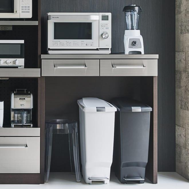 SmartII スマート2 ステンレスシリーズ 間仕切りオープンキッチンカウンター 幅90.5cm高さ100cm コーディネート例 (イ)ウェンジ系