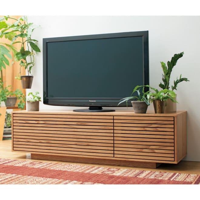 格子リビング収納 テレビボード 幅150.5cm オーク材