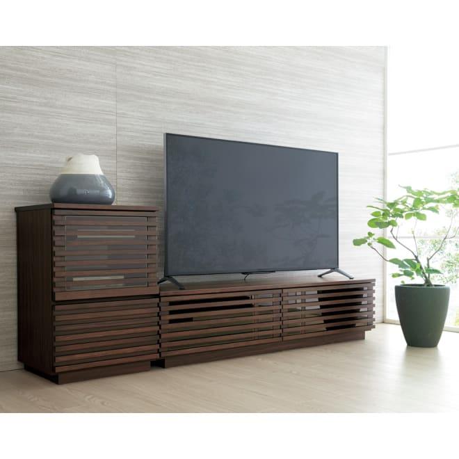 格子デザインシリーズ(ウォルナット) テレビ台 幅150cm コーディネート例 ※お届けはテレビ台幅150cmです。