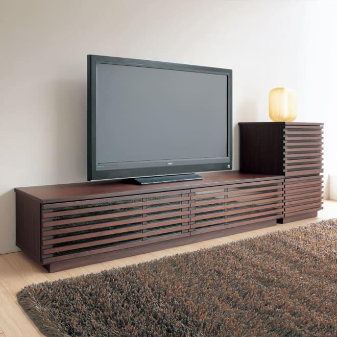 格子デザインシリーズ(ウォルナット) テレビ台 幅180cm コーディネート例 ※お届けはテレビ台幅180cmです。