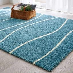 ベルギー製 Cozy/コージー ウィルトン織ラグ (ウ)ブルー 写真は160×230cmサイズです。