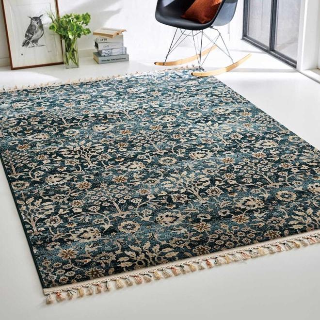 トルコ製ウィルトン織ラグ〈アクアホーム〉 (ア)ブルー系 ※写真は約160×230cmタイプです。