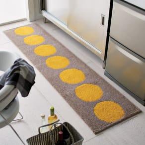 50×180cm 抗菌防臭加工ドット柄 キッチンマット 写真