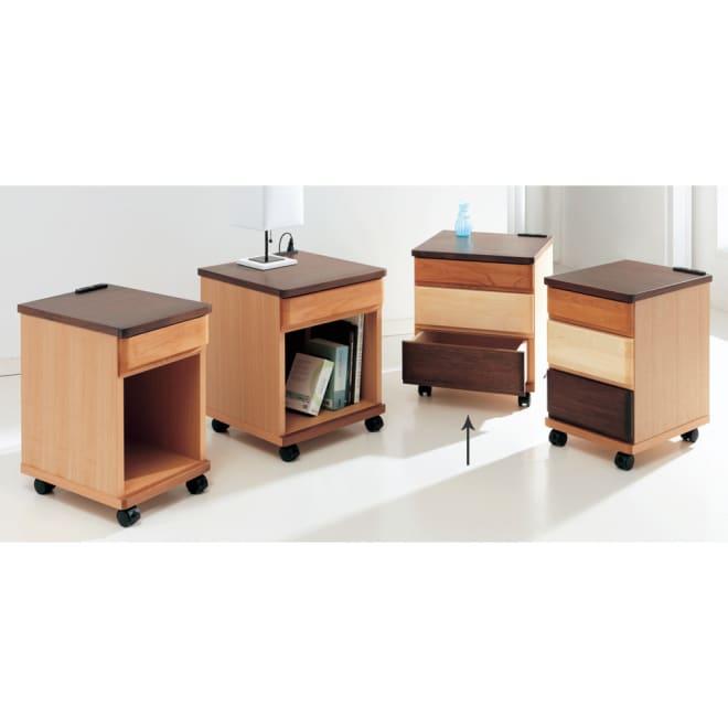 アルダー材ベッドサイドナイトテーブル 幅40cm 引き出し3杯タイプ 写真は同シリーズのラインナップ。幅30、40タイプ、引き出し1杯+オープン収納、引き出し3杯と多彩なラインナップです。