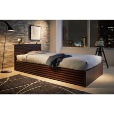ウォルナット格子調ベッド フレームのみ レギュラー丈 長さ209cm