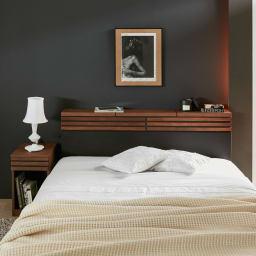 AlusStyle/アルススタイル ベッドシリーズ ベッドフレームのみ [コーディネート例]シックで落ち着いた、ホテルライクな寝室を演出します。
