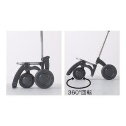 ROLSER/ロルサー ショッピングカート 4輪カート+保冷・保温付きバッグ 2輪時はフットバーが支えて自立します。 4輪時は360°回転して方向転換もラク。