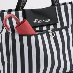 ROLSER/ロルサー ショッピングカート 4輪カート+保冷・保温付きバッグ 背面のファスナーポケット。
