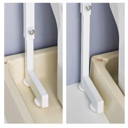 Ventol/ヴェントル ランドリーラック 棚3段 片側の脚を防水パンの外に出すなど、段差があっても設置可能。